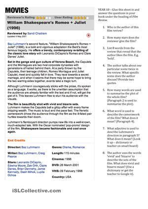 romeo and juliet themes worksheet answers students read a film review on baz luhrmann s romeo and