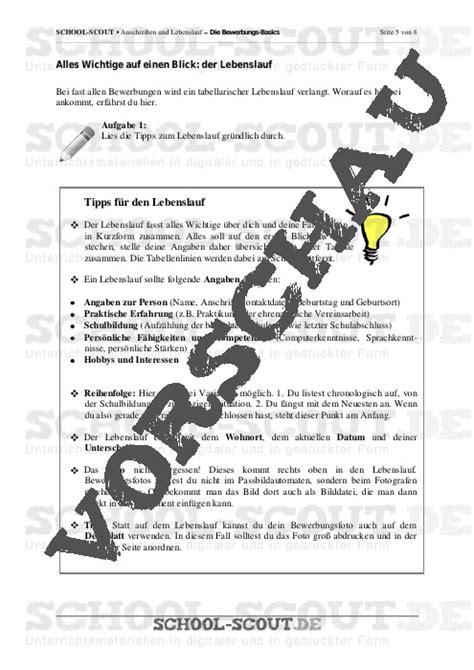 Lebenslauf Unterricht Anschreiben Und Lebenslauf Die Bewerbungs Basics Unterrichtsmaterial Und Arbeitsbl 228 Tter
