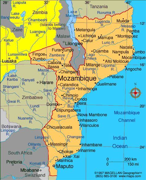 map of mozambique cities mozambique map and mozambique satellite images
