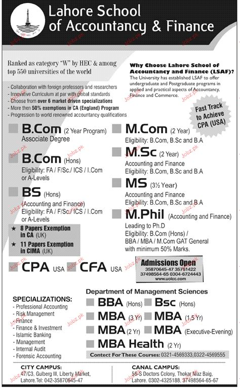 Telecommute Ms Accounting Or Mba Nationwide by Admission In B Bs Ms M In Lahore School Of