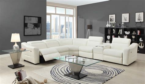 Amite Furniture by Homelegance Instrumental Sectional Sofa Set White Bonded Leather Match U9623 Sect