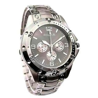 rosra silver metal mens quartz