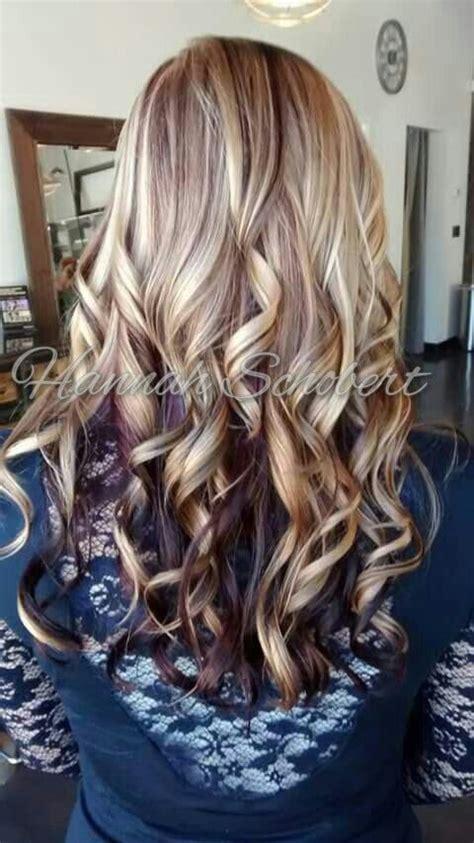 blonde highlight  burgundy violet purple maroon