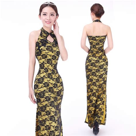 Lace Cheongsam Dress modern roses lace cheongsam dress yellow