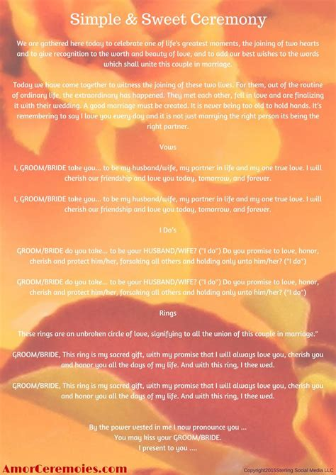 Wedding Officiant Script by Simple Wedding Ceremony Script Http Amorceremonies