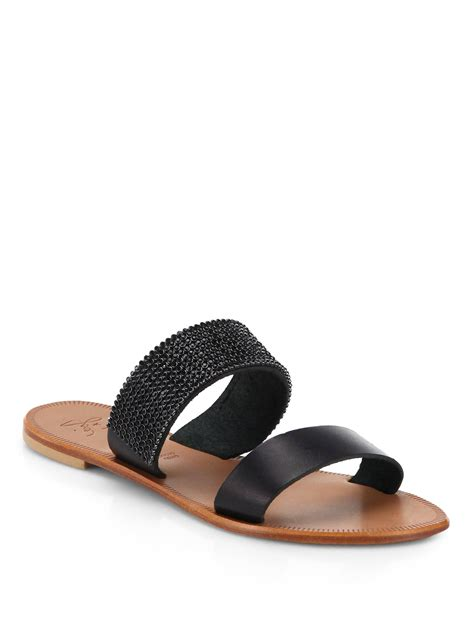 jeweled sandals joie jeweled leather sandals in black lyst