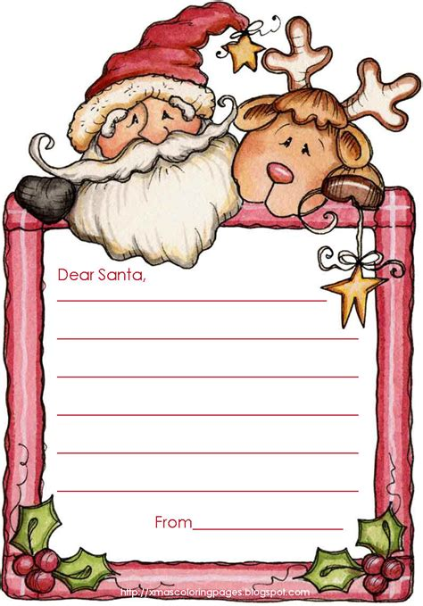 Xmas Coloring Pages Free Letter To Santa Template