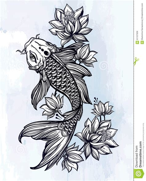 hand drawn fish koi carp with flowers stock vector