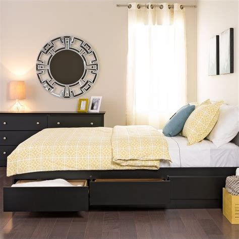 black queen bed frame with storage prepac sonoma black queen platform storage bed with