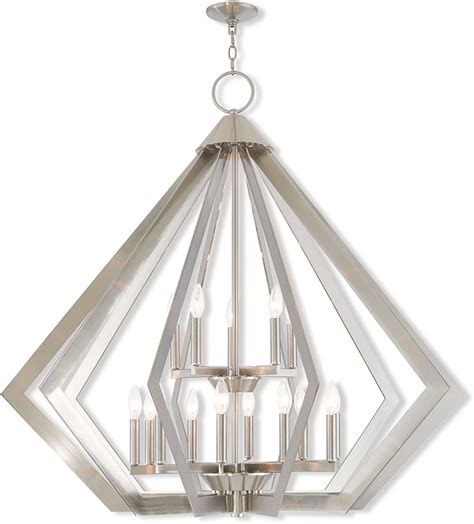 Contemporary Brushed Nickel Chandelier Livex 40928 91 Prism Contemporary Brushed Nickel Chandelier L Lvx 40928 91