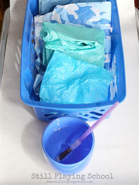 Tissue Paper Process - polar themed process for still school