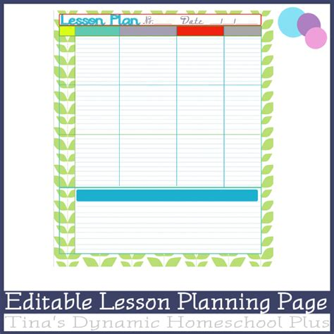 homeschool lesson planner pdf editable lesson planning page mink over you