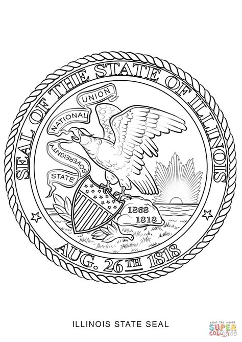 coloring page map of illinois illinois state seal coloring page free printable