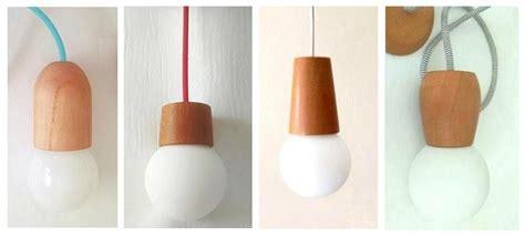 lampara colgante madera  globo vidrio cable textil color
