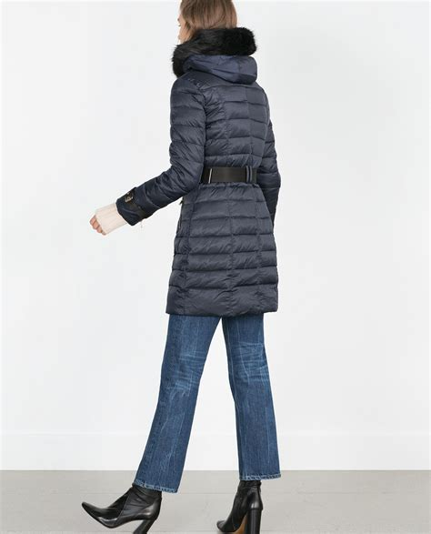 Quilted Coat With by Zara Quilted Coat With Detachable In Black Blue Lyst