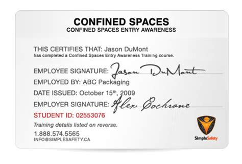 best photos of confined space certificate
