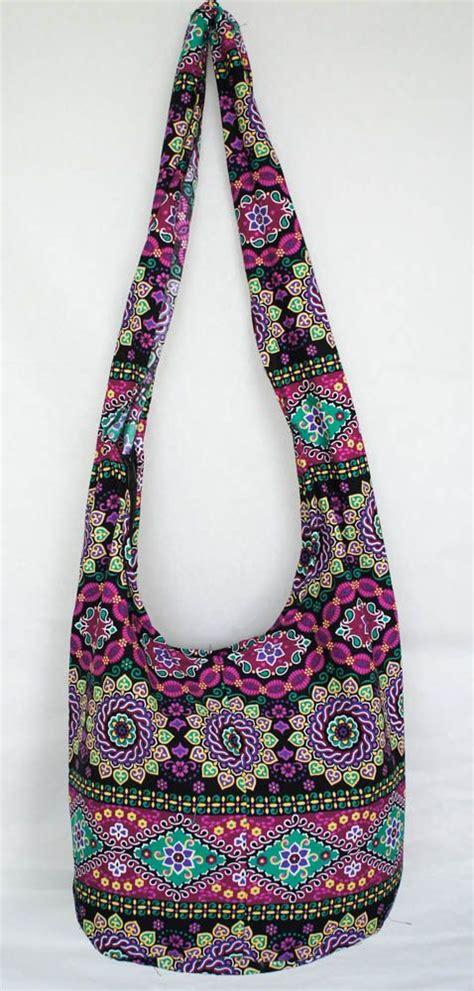 Sling Bag Crossbody Bag Banyak Motif yaamstore purple flora pattern hobo bag sling shoulder crossbody hippie boho purse colors