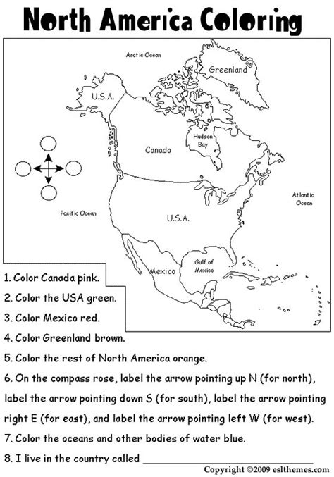 north america coloring page homeschool geography north