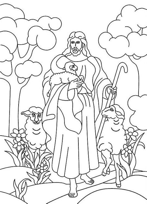Coloring Pages Jesus The Good Shepherd | parable of the good shepherd the good shepherd
