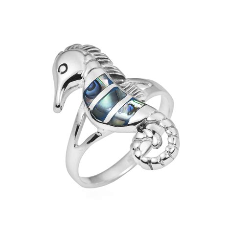 Abalone Shell Composite I seahorse inlay abalone shell 925 silver ring 6