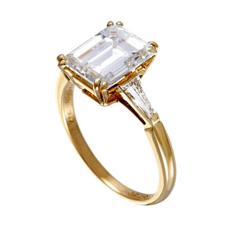Cut Engagement Rings Gold Jewelry by Boucheron Yellow Gold Tapered Baguette And Emerald Cut