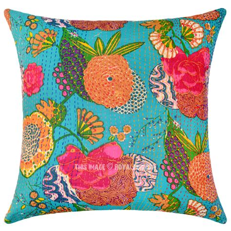 big sea green decorative accent kantha throw pillow