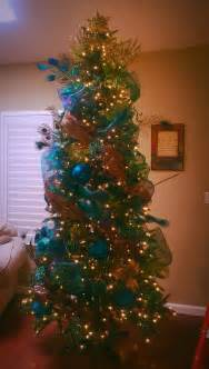 peacock christmas tree turquoise brown green gold my