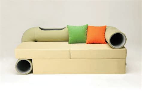 couch with cat tunnel cat tunnel sofa new concept in feline friendly furniture
