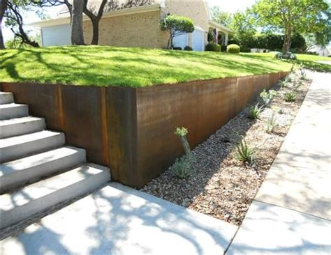 modern retaining wall modern metal retaining wall with planted stone bioswale garden ideas pinterest retaining