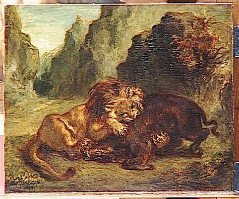 lion  boar  eugene delacroix wikiartorg