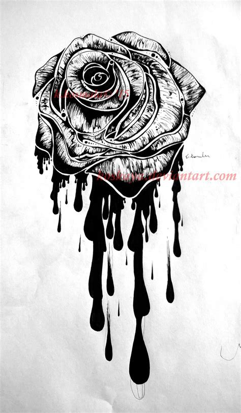bleeding rose tattoos design by koskaya on deviantart
