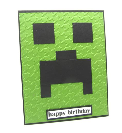 How To Make A Minecraft Birthday Card Pinkblingcrafter A Minecraft Creepers Card And A Favor Box