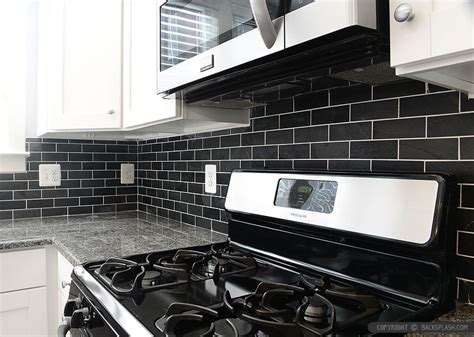 black backsplash ideas mosaic subway tile backsplash