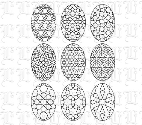 islamic pattern template colouring template islamic patterned oval shape vintage