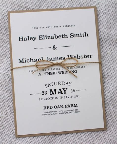 Modern Wedding Invitation, Rustic Chic Wedding Invitation