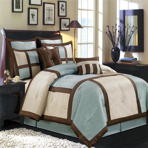 morgan blue chocolate and ivory luxury 12 piece comforter