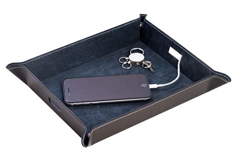 men s dresser top valet leather tray leather valet tray black other jewelry from one kings lane