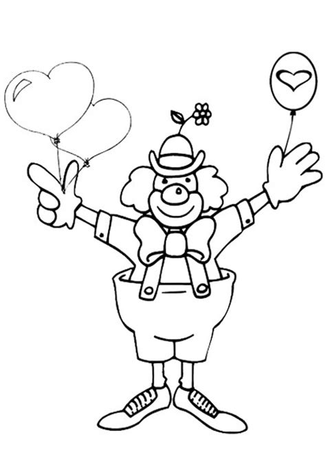 Free Online Valentine Clown Colouring Page Kids Activity Kidspot Colouring Pages