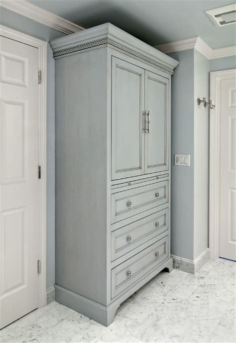 Bathroom Armoire Cabinets by Gray Glazed Linen Cabinet Traditional Bathroom