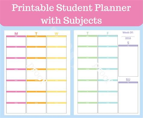 subject planner printable free student planner printable with subjects middle school