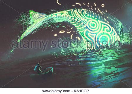 Rowing In Glowing Green Boat Near Edge Of Waterfall