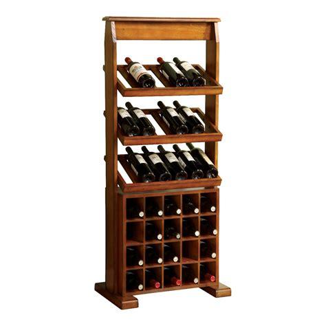 Lowes Wine Rack by Shop Furniture Of America Guarda 38 Bottle Antique Oak
