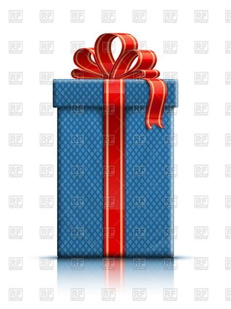 Blue tall gift box with red ribbon Vector Image of Objects