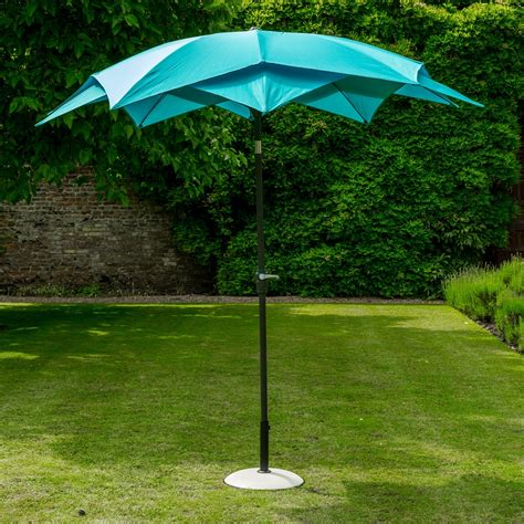 Lotus Garden Parasol In Aqua Blue   Norfolk Leisure