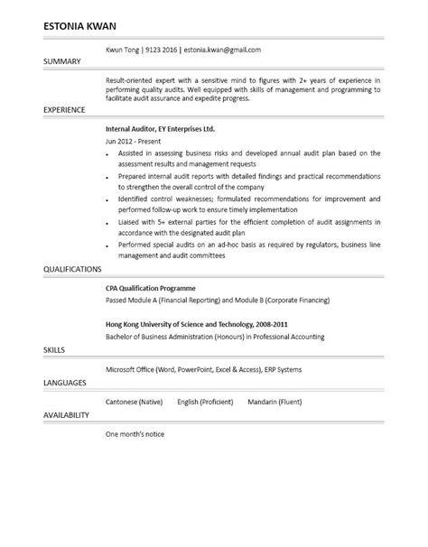 internal auditor cv ctgoodjobs powered by career times