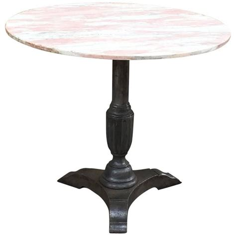 1930s round pink marble and cast iron bistro caf 233 pedestal