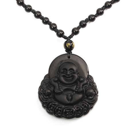 black chain with pendant black obsidian buddha pendant lucky luck prayer