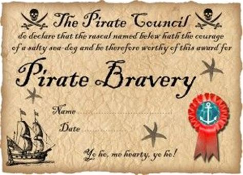 free printable pirate certificate of bravery ready to