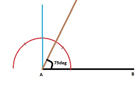 Drawing 75 Degree Angle Compass by Construct An Angle Of 75 Degree With Equal Arms Draw Its