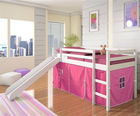 girl twin loft bed with slide low loft bed with pink tent slide white bedroom